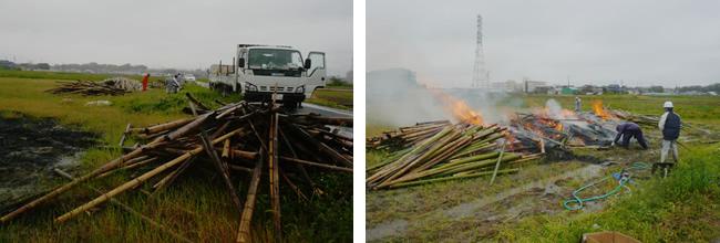 伐採後の竹の運搬と野焼き