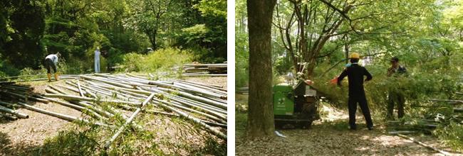 竹粉砕の様子